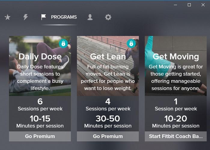 Выбор типа тренировок в Fitbit Coach