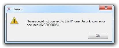 itunes не удалось подключиться к этому iphone 0xe800000a
